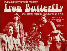 Original concert poster for Iron Butterfly at the Will Rogers Coliseum in Ft Worth TX. 9x12 thin glossy paper.