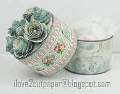 Upcycled box using Botanical Tea from i love 2 cut paper #graphic45