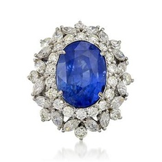 http://www.ross-simons.com/products/774545.html    C. 2000 Vintage 10.25 Carat Sapphire and 3.00 ct. t.w. Diamond Ring In 18kt White Gold. Size 6.25