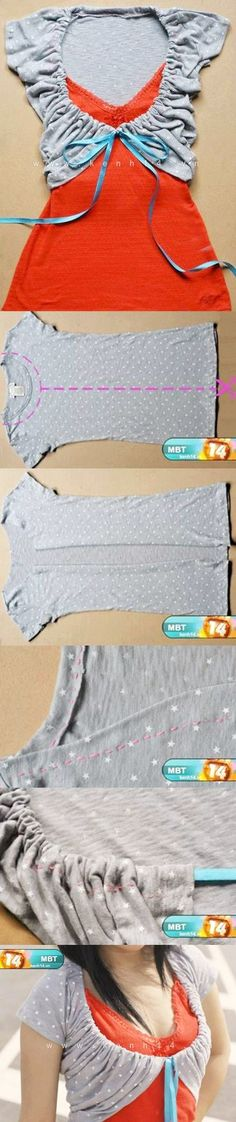 DIY Shirt Makeover diy easy crafts diy crafts how to tutorial craft clothes teen - Teen Shirts - Ideas of Teen Shirts - DIY Shirt Makeover diy easy crafts diy crafts how to tutorial craft clothes teen crafts crafts for teens refashion Shirt Refashion, Diy Shirt, Refashioned Tshirt, Shirt Vest, Clothes Refashion, Diy Clothing, Sewing Clothes, Dyi Couture, Diy Fashion
