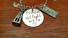 """Handstamped Oil Rig oilfield necklace """"Spoiled oilfield wife"""" on Etsy, $33.00"""