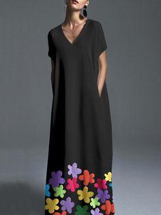 Plus Size Color Block V-Neckline Short Sleeve Maxi Shift Dress - Black / Plus Size Maxi Dresses, Day Dresses, Casual Dresses, Short Sleeve Dresses, Summer Dresses, Dresses Online, Fashion Dresses, Elegant Dresses, Pretty Dresses
