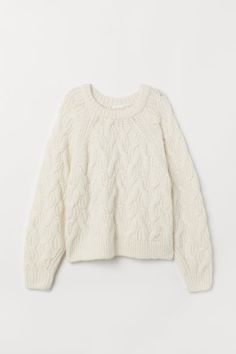 Soft cable-knit sweater with wool content. Long raglan sleeves and ribbing at neckline, cuffs, and hem. Womens Cream Sweater, Cream Jumper, White Knit Sweater, Cable Knit Sweaters, Vogue Knitting, Knitting Wool, Winter Sweaters, Sweater Weather, Garter Stitch