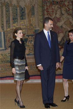 Los Reyes de España en la recepción de despedida a la Presidenta de Chile