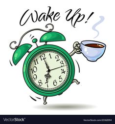 Alarm clock with cup of hot coffee ringing vector image on VectorStock Good Morning Texts, Good Morning Funny, Good Morning Coffee, Good Morning Messages, Good Morning Greetings, Good Morning Wishes, Good Morning Quotes, Morning Pictures, Good Morning Images