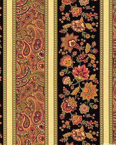 Marigold - Russian Garden Stripe - Black Textile Patterns, Textile Art, Print Patterns, Paisley Art, Paisley Design, Pattern Art, Pattern Design, Art Chinois, Decoupage