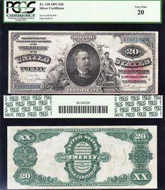 "NICE *RARE* Bold VF 1891 $20 ""MANNING"" Silver Cert! PCGS 20! FREE SHIP! E6661898"