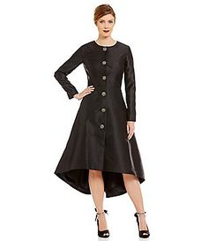 Leslie Fay Long Sleeve Detailed Button Round Neck Hi-Low Coat Dress