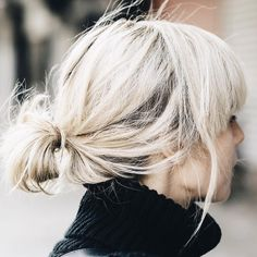 Short and Sweet | Mussed and messy, little, low ponytail with bangs. | via thenletitbe.tumblr.com
