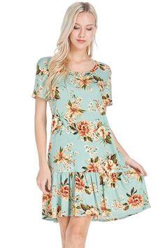 1cfd7c5127fd3 GOZON Women's Ruffle Hem Floral T-Line Short Sleeve Mini Dress – GOZON  Boutique Dress