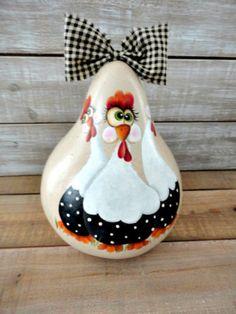 Handpainted-Primitive-Folk-Art-Chicken-Gourd Christmas Craft Show, Christmas Ornaments, Gourd Crafts, Hand Painted Gourds, Lightbulbs, Autumn Painting, Primitive Folk Art, Gourd Art, Painted Stones