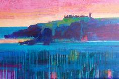 'Dunnottar dusk' acrylic 50x100 cms