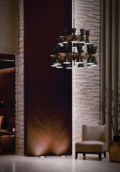 Charles architectural ceiling fixture, a multi-light copper chandelier inspired in the fifties