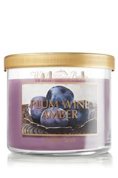 Plum Wine Amber 14.5 oz. 3-Wick Candle - Slatkin & Co. - Bath & Body Works