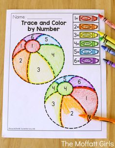 Trace and Color by Number- Avoid the Summer Slide! Help your students stay on track during summer break with these FUN activities! Perfect for Preschool going into Kindergarten!