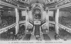 The triple-height central well, and triumphant staircase, dominate this photograph of the First Class Salle a Manger (Dining Room) of the France of 1912, flagship of the Compagnie Générale Transatlantique/The French Line. For a Line and jingoistic Culture forever synonymous with the arts of cuisine and dining, the mise en scène is admittedly curious: note that the tables are neither dressed nor set. From the private collection of John Cunard-Shutter.