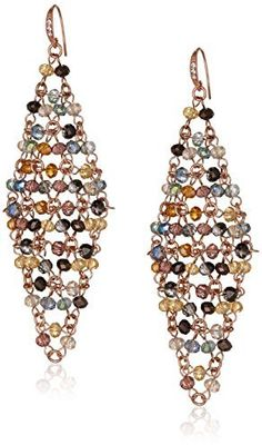 ABS By Allen Schwartz Multi-Colored Diamond Shape Beaded Mesh Drop Earrings