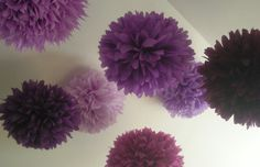 Mixed Up Purples ... 10 tissue paper poms // wedding reception // anniversary // graduation // bat mitzvah // party decorations. $35.00, via Etsy.