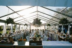 10m marquee structure, full clear marquee, clear roof, clear walls, festoon lighting, white padded folding chairs, marquee weddings, south coast weddings, south coast party hire