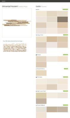 Universal Accent. Stratford Place. Travertine. Daltile. Behr. Valspar Paint. Olympic. Benjamin Moore. PPG Paints. Ralph Lauren Paint. Sherwin Williams.  Click the gray Visit button to see the matching paint names.