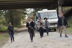 Josh McDermitt as Dr Eugene Porter; Andrew Lincoln as Rick Grimes; Sonequa Martin-Green as Sasha; Michael Cudlitz as Sgt Abraham Ford; Ross Marquand as Aaron; Chandler Riggs as Carl Grimes – The Walking Dead _ Season 6, Episode 16 – Photo Credit: Gene Page/AMC