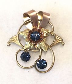c.1930s HARRY ISKIN 12k Gold Filled & Rhinestone 2-in-1 Brooch to Pendant #HarryIskin