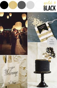 Pretty Palette with Gold + Black Wedding Inspiration Gold Wedding Colors, Wedding Color Schemes, Wedding Themes, Wedding Decorations, Stage Decorations, Purple Wedding, Wedding Cakes, Perfect Wedding, Our Wedding
