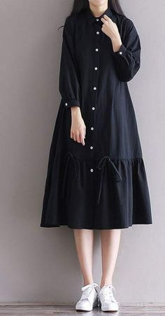 Women loose fit plus over size dress button maxi long sleeve tunic casual chic unbranded dress anyoccasion comfy but still polished Stylish Dresses For Girls, Simple Dresses, Nice Dresses, Casual Dresses, Hijab Casual, Loose Dresses, Plus Dresses, Muslim Fashion, Hijab Fashion
