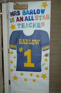 Blog post with several door decorations for teacher appreciation week.
