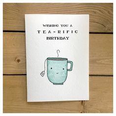 TEA-RIFIC BIRTHDAY // birthday card tea card funny birthday card greeting card birthday cute card tea party punny for her tea lover