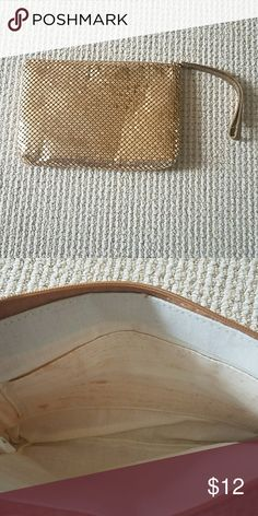 Gold sequined clutch Gold sequined clutch. Outside is excellent condition. I. Side linen lining has light makeup stain. Bags Clutches & Wristlets