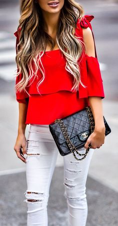 #spring #outfits Tied With A Bow.  // Red Cold Shoulder Top & White Ripped Skinny Jeans