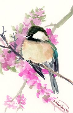 Chickadee one of a kind original watercolor painting, bird art, sage brown colors small original painting gift bird lover chickadee art