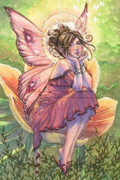 Fairy Art Print  Pink Fairy with White Hearts door sarambutcher