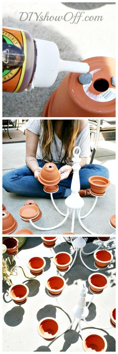 Cool Idea for an outdoor space. how-to-make-a-chandelier-planter