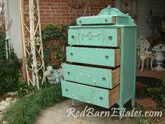 #BluePaintedDresser by {Red Barn Estates} #PaintedFurniture #BlueDresser