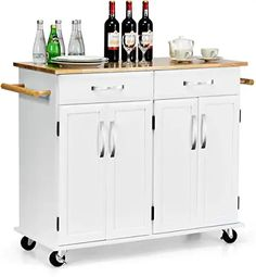New Giantex Kitchen Trolley Cart, Rolling Utility Island w/Rubber Wood Top, Large Storage Easy-Clean Smooth Lockable Wheels Home Kitchen Carts (White) online - Aristalook Kitchen Trolley Cart, Kitchen Island Cart, White Kitchen Island, Cherry Kitchen, Kitchen Islands, Kitchen Dining, Oriental Furniture, White Furniture, Lawn Furniture