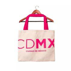Bolsa De Loneta Tote Bag Asa De Tela Estampado Cdmx Rosa - $ 170.00