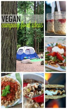 Loads of vegan camping food ideas - breakfast, lunch, snack, dinner, and even s'mores!