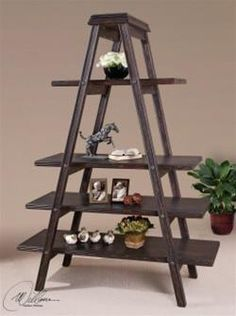 Uttermost Shogun Etagere 24176. h1Uttermost Shogun Etagere 24176_h1This fabullous Uttermost Shogun Etagere 24176 features an aged, slate black finish with natural wood undertones and over 25 square feet of display area. Designer Matthew Williams.. See More Etageres at http://www.ourgreatshop.com/Etageres-C1084.aspx