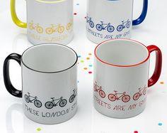 Sopa de bici de la taza taza extra grande blanco y por LennyMud