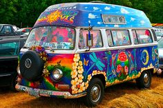 Really Groovy Whimsy...a Bright and Colorful Psychedelic Volkswagen Van