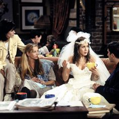 Brides.com: . Rachel on Friends. Rachel running away from her marriage to Barry is one of several iconic Friends wedding scenes. Rocking a '90s-style ball gown at Central Perk, this series opener sets the tone for the following 10 years together and the many milestones our favorite friends will bring.