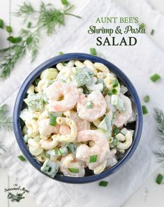 Salad recipes 338192253269050244 - Full of simple and fresh ingredients, Aunt Bee's Shrimp and Pasta Salad has been a family-favorite party recipe for decades! This pasta side dish is amazing! Shrimp Macaroni Salad, Seafood Salad, Shrimp Pasta, Chicken Pasta, Pasta Salad Recipes, Seafood Recipes, Cooking Recipes, Healthy Recipes, Pasta Meals