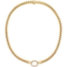 Pre-owned Van Cleef & Arpels Diamond Gold Necklace ($12,500) ❤ liked on Polyvore featuring jewelry, necklaces, choker necklaces, gold jewellery, diamond jewellery, van cleef arpels necklace, round diamond necklace e diamond jewelry