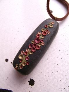 Back to Earth  Polymer clay pendant on black by BekkaMartin, £33.00