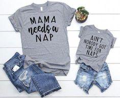 Mama Needs a Nap Set - Mother Son Matching Shirts - Mom and Daughter Matching Shirts - Mom and Baby Boy Matching - Mother Son T Shirts - Best Baby Clothes Mommy And Me Shirt, Mommy And Son, Mommy And Me Outfits, Mom And Me, Mama Shirt, Mom Son, Baby Shirts, Funny Shirts, Boy Mom Shirts