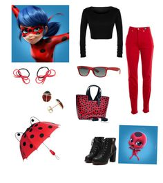 """""""Miraculous Ladybug - Ladybug"""" by skullcandi13 on Polyvore featuring Versace Jeans Couture, Ray-Ban, Dasein and KIDORABLE"""