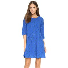 BB Dakota Daryn Arrowhead Printed Dress (115 NZD) ❤ liked on Polyvore featuring dresses, strong blue, 3/4 sleeve dress, blue dress, shirt dress, long shirt dress and two-tone dress