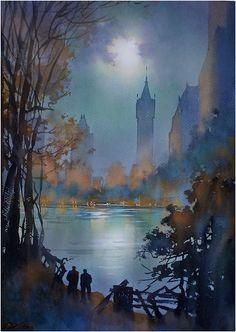 """Thomas W. Schaller. """"Manhattan Nocturne"""", watercolor, 2014."""